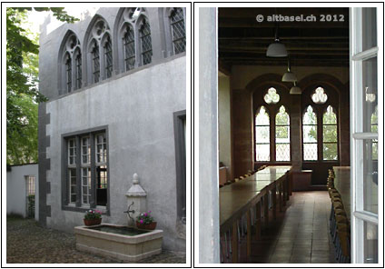hoffassade und gotische fenster der 13. jahrhunderts